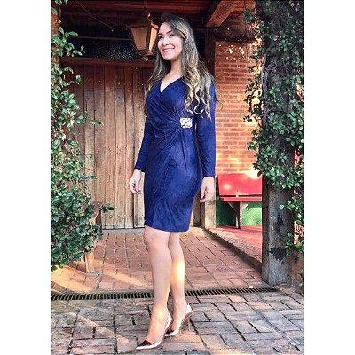 Vestido Transpassado em Suede Azul Marinho  - Moda Executiva Evangélica