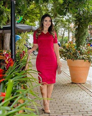 Vestido Alicia Vermelho - Moda Executiva Evangélica