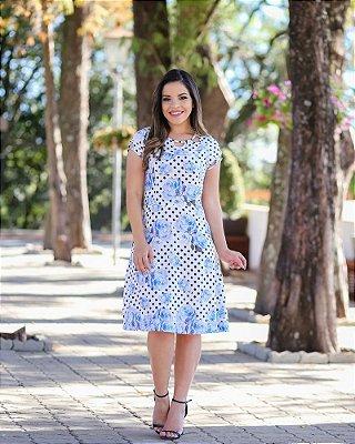 Vestido Berly Azul - Moda Executiva Evangélica