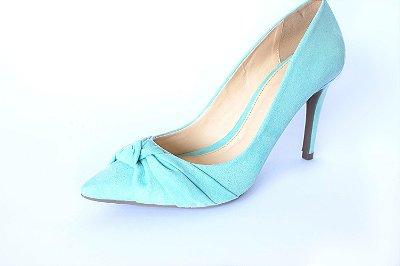 Scarpin azul celeste de bico fino– Moda Executiva e Evangélica – Amoii