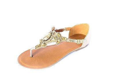 Rasteirinha dourada com pedras de Topázio – Moda Executiva e Evangélica – Amoii