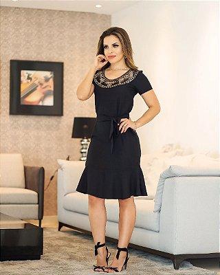 Vestido Janaina Preto - Moda Evangélica Executiva