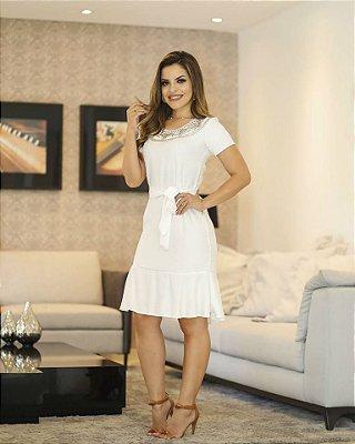 Vestido Janaina Off White - Moda Evangélica Executiva