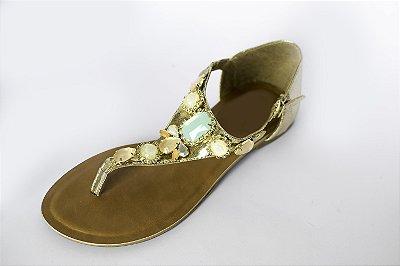 Rasteirinha dourada com pedras coloridas – Moda Executiva e Evangélica – Amoii