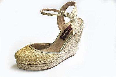 Espadrille Anabela palha dourada – Moda Executiva e Evangélica – Amoii
