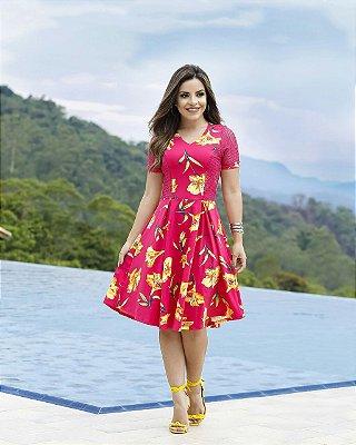 Vestido Guilhermina Pink - Moda Evangélica Executiva