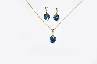 Conjunto de brinco e corrente folheado a ouro 18K , em cristal na cor azul petróleo  - Moda executiva e evangélica - Amoii