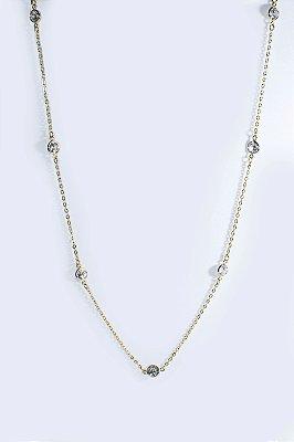 Colar folheado em ouro 18K com zircônias inspiração da Tiffany - Moda executiva e evangélica - Amoii