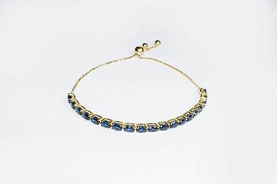 Pulseira ajustável folheada a ouro 18K, com zircônias na cor azul marinho - Moda executiva e evangélica - Amoii