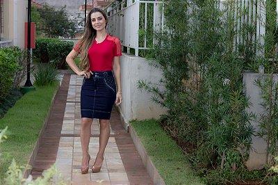 Saia Jeans Ana Clara - Moda Evangélica Executiva