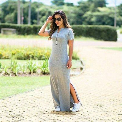 Vestido Mariana Cinza Mescla - Moda Evangélica Executiva
