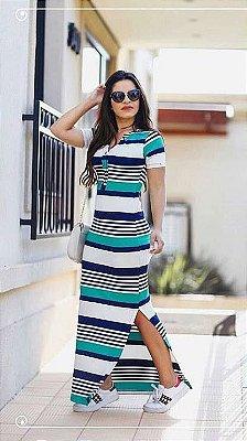 Vestido Mariana Azul - Moda Evangélica Executiva