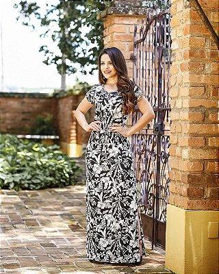 Vestido Ana Clara P&B - Moda Evangélica Executiva