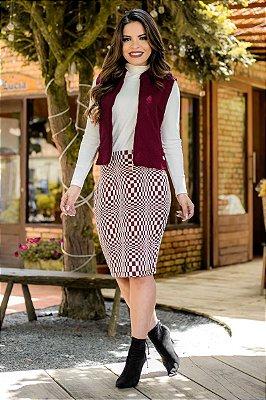 BK4692 - Conjunto Fernanda saia lápis em jacquard e blusa em malha canelada - Moda Evangélica