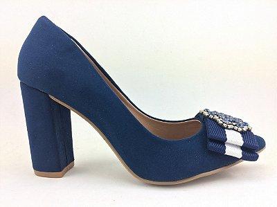 Scarpin salto bloco azul marinho – Amoii – Moda Executiva e Evangélica