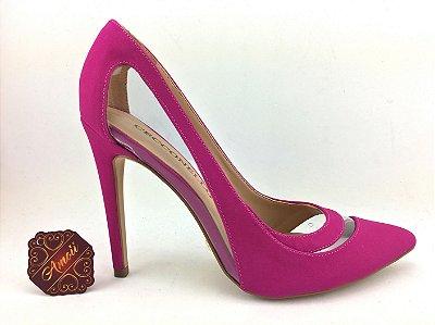 Scarpin Pink com detalhes em vinil da Cecconello – Amoii – Moda Executiva e Evangélica