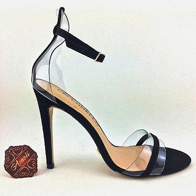 Sandália em Vinil com detalhes Preto da Cecconello – Amoii – Moda Executiva e Evangélica