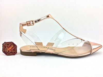 Sapatilha metalizada vinil rose gold da Cecconello – Amoii – Moda Executiva e Evangélica