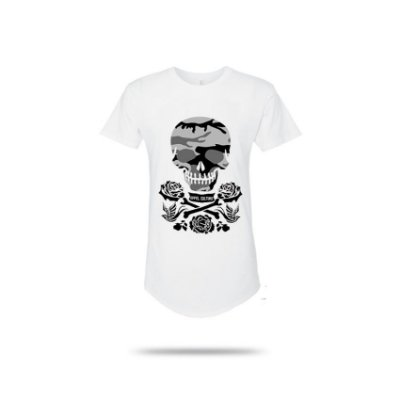 Camiseta Effel Skull Camuflado Long Line