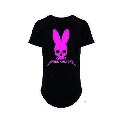 Camiseta Effel Long Line Rabbit skull Rosa