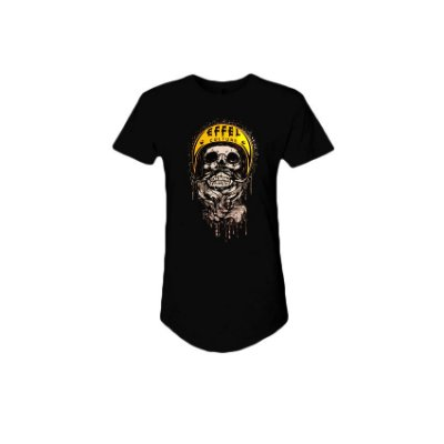 Camiseta Effel Long Line Skull Motors