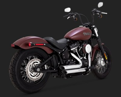 Escapamento Vance & Hines ShortShots Staggered Chrome 17233 para Harley Davidson Softails 2018 Milwaukee Eight Fat Bob / Heritage Classic / Low Rider / Deluxe / Softail Slim / Street Bob
