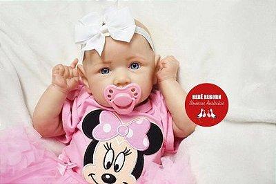 Boneca Bebê Reborn Menina Realista Olhos Azuis Super Fofa E Encantadora Com Enxoval E Chupeta