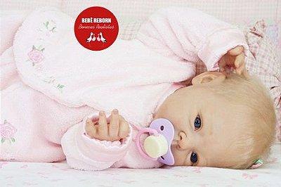 Boneca Bebê Reborn Menina Realista Loirinha Graciosa Lindíssima Com Enxoval E Chupeta