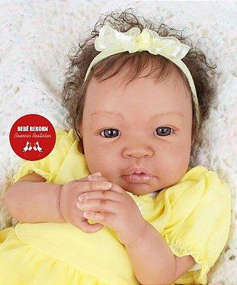 Bebê Reborn Menina Realista Negra Detalhes Sofisticados Acompanha Enxoval E Acessórios