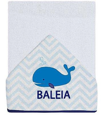 Toalha para Banho Bebê Bordada Baleia Azul