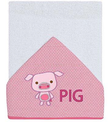 Toalha para Banho Bebê Bordada Pig Rosa
