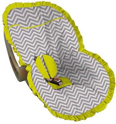 Capa para Bebê Conforto Chevron Cinza Babado Amarelo