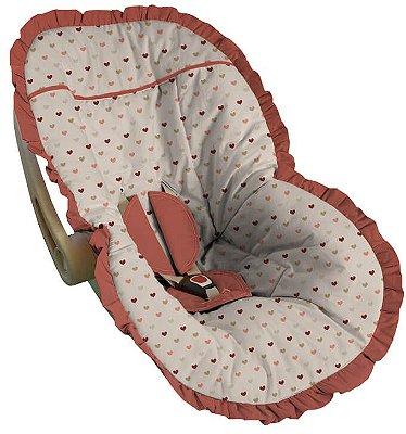 Capa para Bebê Conforto Coração Coral Roma