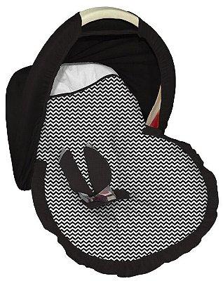 Capa para bebê Conforto com Capota Mini Chevron Preto
