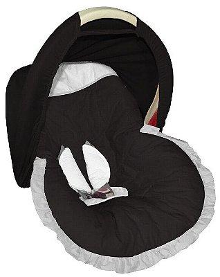 Capa para bebê Conforto Preta com Capota