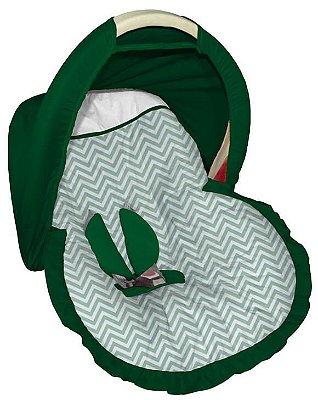 Capa para bebê Conforto com Capota Chevron Verde