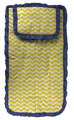 Capa para Carrinho com Travesseiro Chevron Amarelo