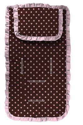 Capa para Carrinho com Travesseiro Poá Marrom e Rosa