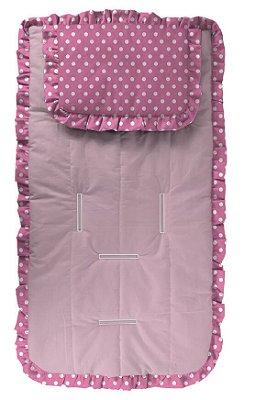 Capa para Carrinho com Travesseiro Poá Pink e Branco