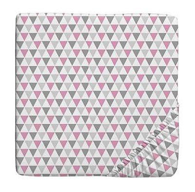 Lençol para Berço com Elástico Triangulo Colorido Rosa e Cinza