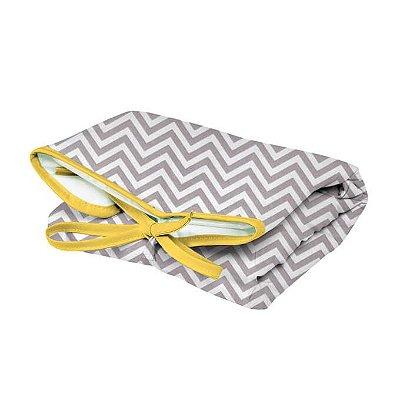 Trocador Portátil Dobrável Chevron Cinza Lacinho Amarelo para Bebê