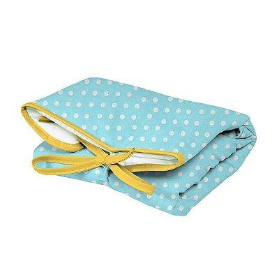 Trocador Portátil Dobrável Poá Azul Turquesa para Bebê