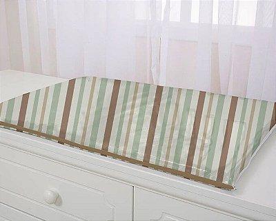 Trocador para Comoda de Bebê Listras Marrom e Verde