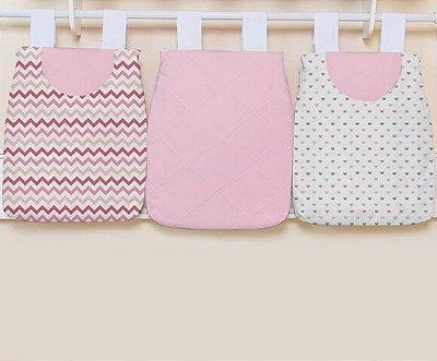 Porta Fraldas 3 Peças Chevron Pink e Coração