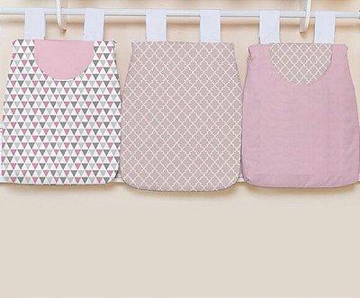 Porta Fraldas 3 Peças Triângulos Rosa Cinza e Arabesco