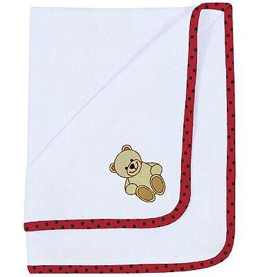 Cueiro Bordado Ursinho Teddy Poá Vermelho