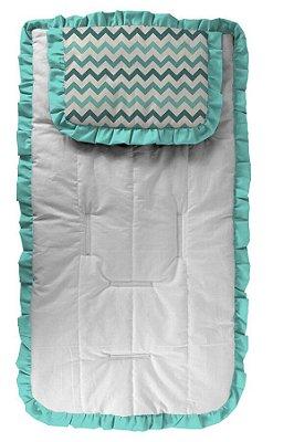 Capa de Carrinho com Travesseiro Chevron Tons Verde Tiffany