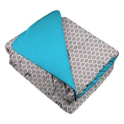 Edredom de Berço Favo de Mel Cinza e Azul Tiffany