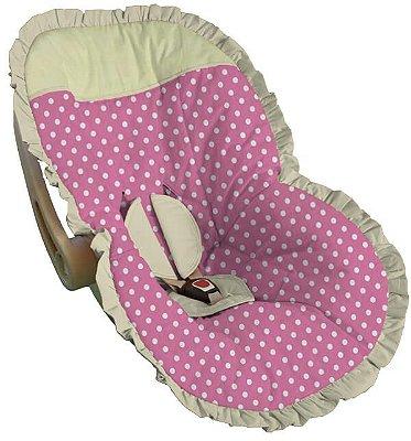 Capa para Bebê Conforto Rosa Bebê Bolinha Branca Babado Creme