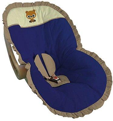 Capa para Bebê Conforto Azul Royal Bordada Ursinho Baby